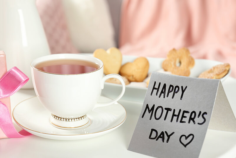 Cup Of Tea And Card On Table, Mother's Day Breakfast