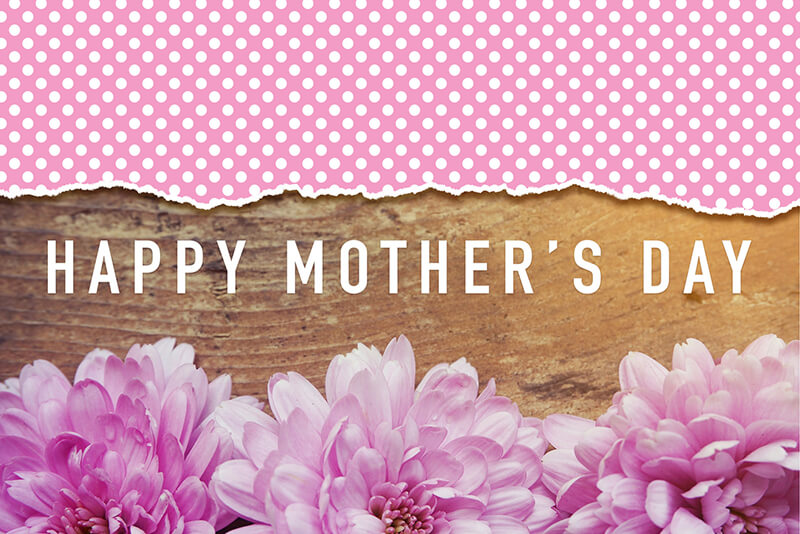 Happy Mothers Day - Pink Flowers On Wooden With Word