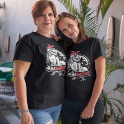 Mamasaurus T rex Dinosaur Funny Mama Saurus Family Matching2 T-Shirts