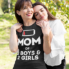 Mom Of 2 Boys 2 Girls Clothing Gift Mother Wife Funny T-shirts