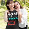 Tired Mom Of 2 Boys Funny Mother With Two Sons Low Battery T-Shirts