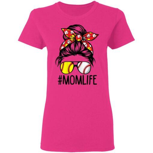 Mom Life Softball Baseball Mothers Day Messy Bun T-Shirts 7 of Sapelle