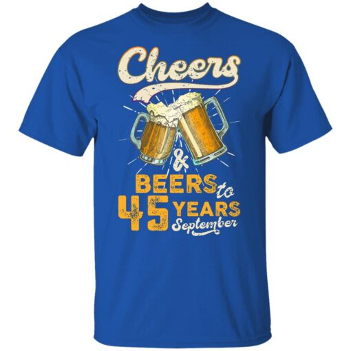 September 1976 45 Years Old Cheers Beer To My 45th Birthday T-Shirt 12 of Sapelle
