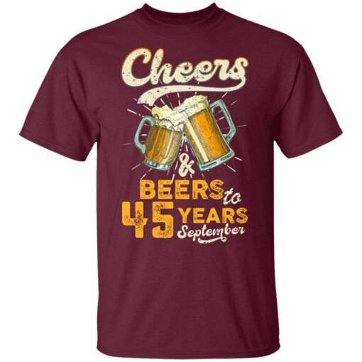 September 1976 45 Years Old Cheers Beer To My 45th Birthday T-Shirt 9 of Sapelle