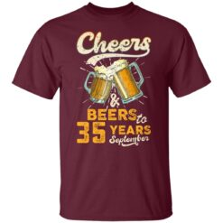 September 1986 35 Years Old Cheers Beer To My 35th Birthday T-Shirt 18 of Sapelle