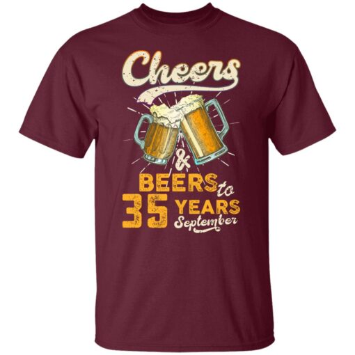 September 1986 35 Years Old Cheers Beer To My 35th Birthday T-Shirt 2 of Sapelle