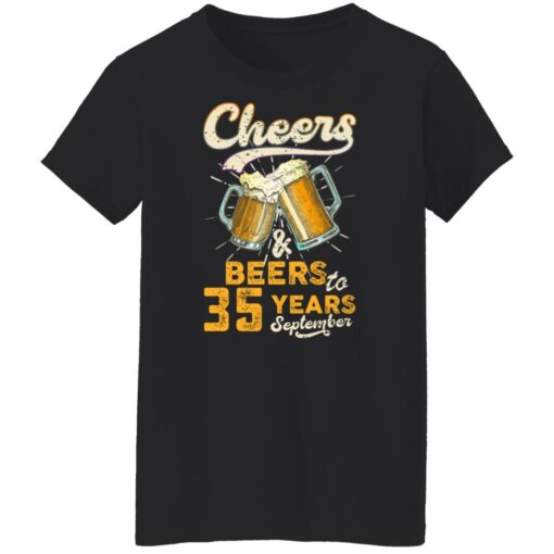 September 1986 35 Years Old Cheers Beer To My 35th Birthday T-Shirt 12 of Sapelle
