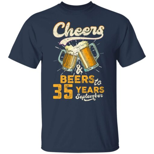 September 1986 35 Years Old Cheers Beer To My 35th Birthday T-Shirt 3 of Sapelle