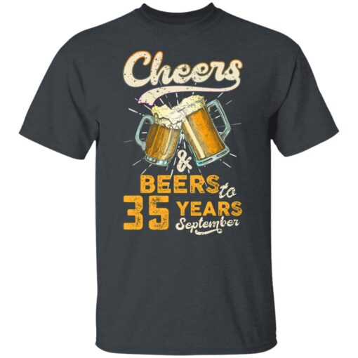 September 1986 35 Years Old Cheers Beer To My 35th Birthday T-Shirt 1 of Sapelle