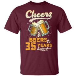 September 1986 35 Years Old Cheers Beer To My 35th Birthday T-Shirt 30 of Sapelle