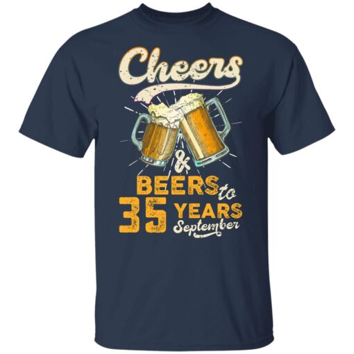 September 1986 35 Years Old Cheers Beer To My 35th Birthday T-Shirt 9 of Sapelle