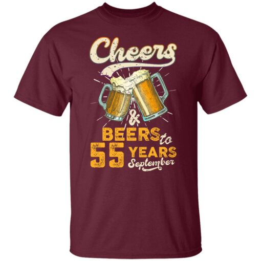 September 1966 55 Years Old Cheers Beer To My 55th Birthday T-Shirt 3 of Sapelle