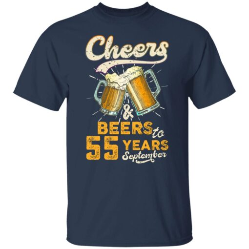 September 1966 55 Years Old Cheers Beer To My 55th Birthday T-Shirt 4 of Sapelle