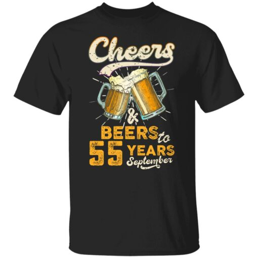 September 1966 55 Years Old Cheers Beer To My 55th Birthday T-Shirt 1 of Sapelle