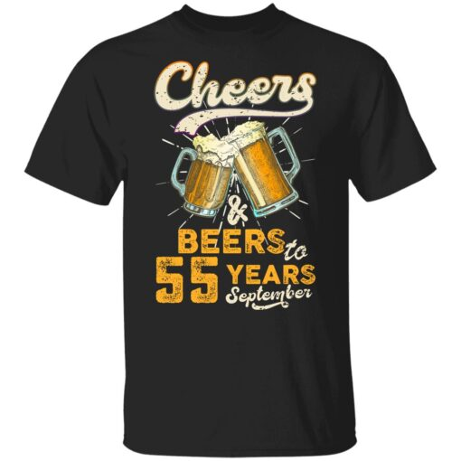 September 1966 55 Years Old Cheers Beer To My 55th Birthday T-Shirt 7 of Sapelle