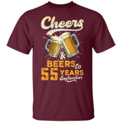 September 1966 55 Years Old Cheers Beer To My 55th Birthday T-Shirt 33 of Sapelle