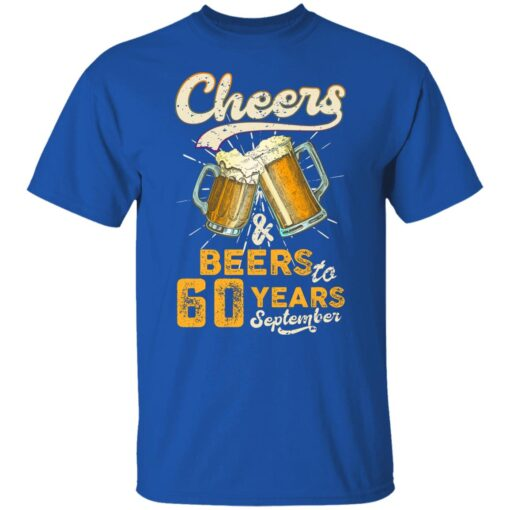 September 1961 60 Years Old Cheers Beer To My 60th Birthday T-Shirt 6 of Sapelle