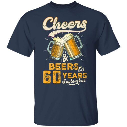 September 1961 60 Years Old Cheers Beer To My 60th Birthday T-Shirt 10 of Sapelle