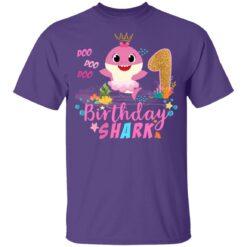 Baby Cute Shark Birthday Boys Girls 1 Year Old 1st Birthday T-shirt 10 of Sapelle