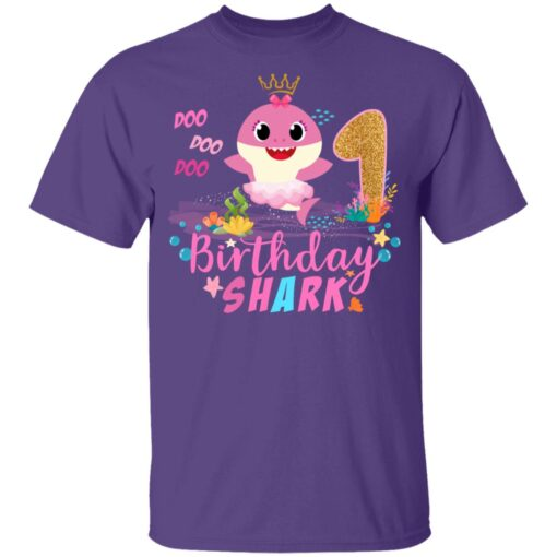 Baby Cute Shark Birthday Boys Girls 1 Year Old 1st Birthday T-shirt 4 of Sapelle