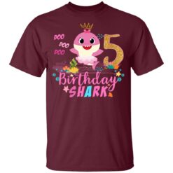 Baby Cute Shark Birthday Boys Girls 5 Years Old 5th Birthday T-shirt 6 of Sapelle