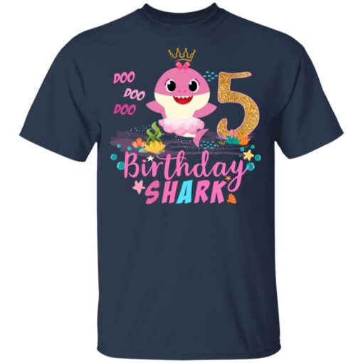 Baby Cute Shark Birthday Boys Girls 5 Years Old 5th Birthday T-shirt 3 of Sapelle