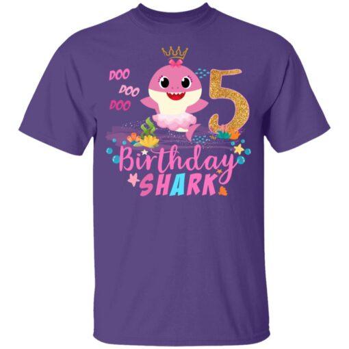 Baby Cute Shark Birthday Boys Girls 5 Years Old 5th Birthday T-shirt 4 of Sapelle