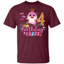 Baby Cute Shark Birthday Boys Girls 4 Years Old 4th Birthday T-shirt 9 of Sapelle
