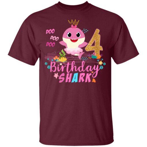 Baby Cute Shark Birthday Boys Girls 4 Years Old 4th Birthday T-shirt 3 of Sapelle