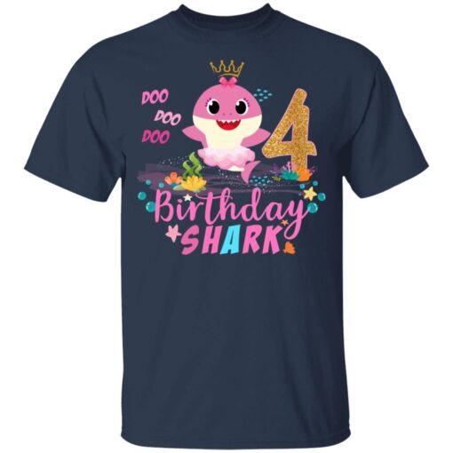 Baby Cute Shark Birthday Boys Girls 4 Years Old 4th Birthday T-shirt 4 of Sapelle