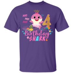 Baby Cute Shark Birthday Boys Girls 4 Years Old 4th Birthday T-shirt 13 of Sapelle