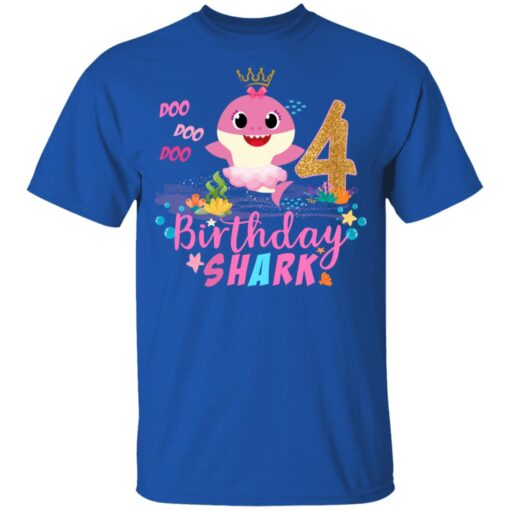 Baby Cute Shark Birthday Boys Girls 4 Years Old 4th Birthday T-shirt 6 of Sapelle