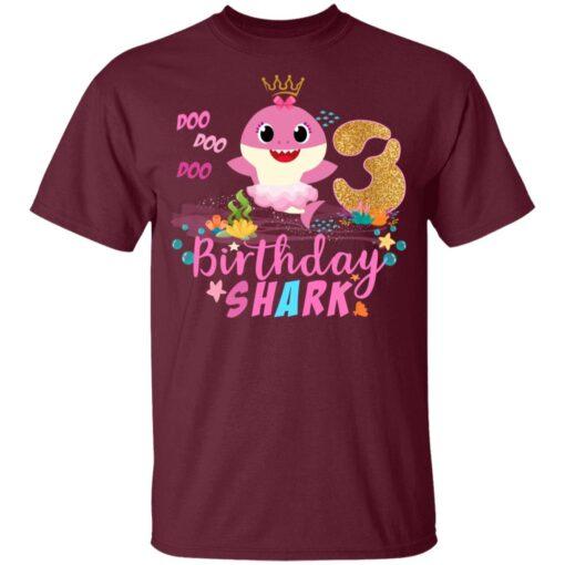 Baby Cute Shark Birthday Boys Girls 3 Years Old 3rd Birthday T-shirt 2 of Sapelle