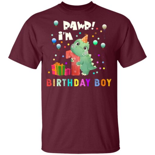 Kids 1 Year Old 2020 Birthday Boys Dinosaur 1st Birthday T-shirt 2 of Sapelle