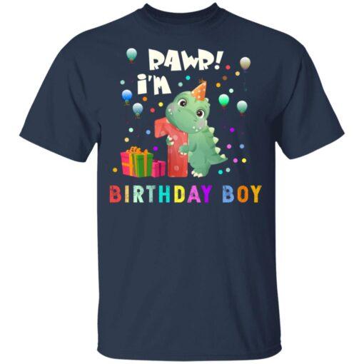 Kids 1 Year Old 2020 Birthday Boys Dinosaur 1st Birthday T-shirt 3 of Sapelle