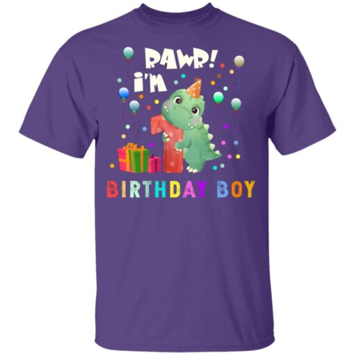 Kids 1 Year Old 2020 Birthday Boys Dinosaur 1st Birthday T-shirt 4 of Sapelle