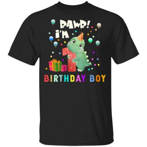 Kids 1 Year Old 2020 Birthday Boys Dinosaur 1st Birthday T-shirt 1 of Sapelle