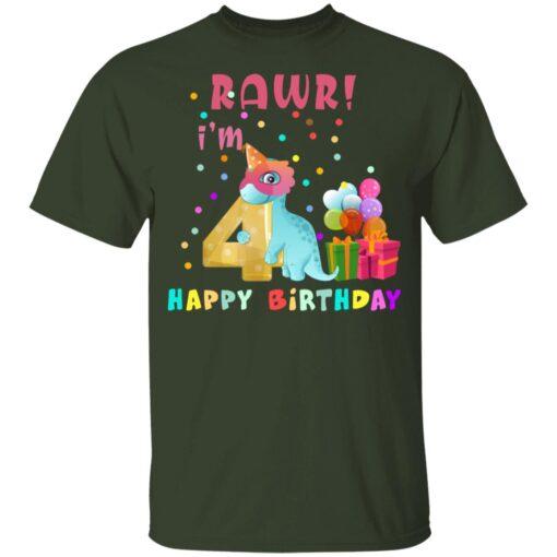 Kids 4 Year Old 2017 Birthday Boys Dinosaur 4th Birthday T-shirt 2 of Sapelle