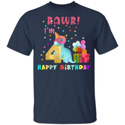 Kids 4 Year Old 2017 Birthday Boys Dinosaur 4th Birthday T-shirt 3 of Sapelle