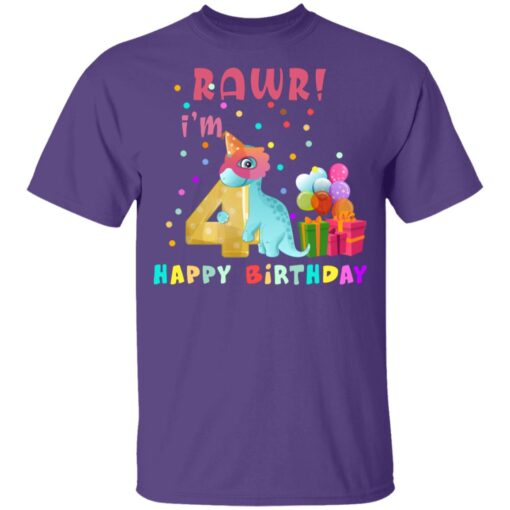 Kids 4 Year Old 2017 Birthday Boys Dinosaur 4th Birthday T-shirt 4 of Sapelle
