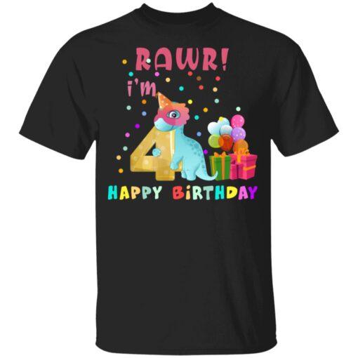 Kids 4 Year Old 2017 Birthday Boys Dinosaur 4th Birthday T-shirt 1 of Sapelle