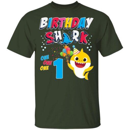 1st Birthday Baby Cute Shark Birthday Boys Girls 1 Year Old T-shirt 2 of Sapelle