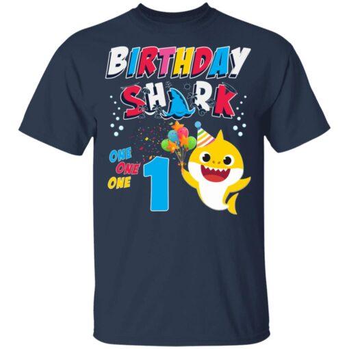 1st Birthday Baby Cute Shark Birthday Boys Girls 1 Year Old T-shirt 3 of Sapelle