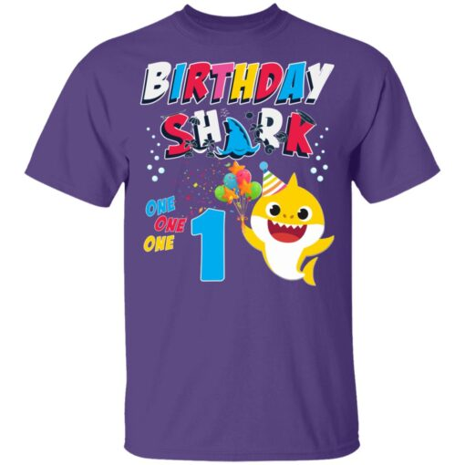 1st Birthday Baby Cute Shark Birthday Boys Girls 1 Year Old T-shirt 4 of Sapelle