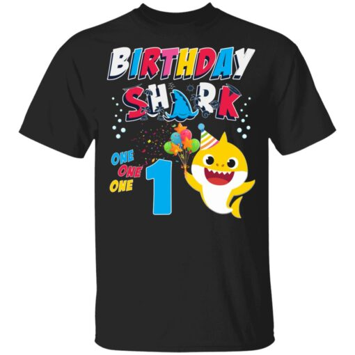 1st Birthday Baby Cute Shark Birthday Boys Girls 1 Year Old T-shirt 1 of Sapelle