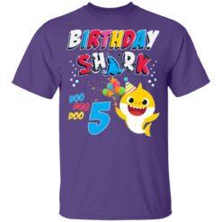 5th Birthday Baby Cute Shark Birthday Boys Girls 5 Years Old T-shirt 10 of Sapelle