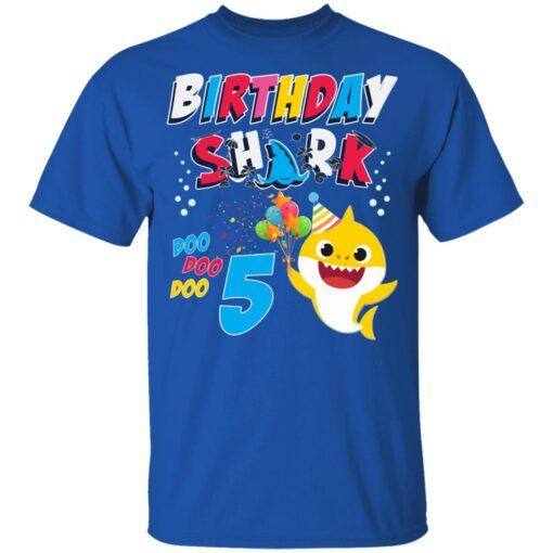 5th Birthday Baby Cute Shark Birthday Boys Girls 5 Years Old T-shirt 5 of Sapelle