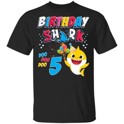 5th Birthday Baby Cute Shark Birthday Boys Girls 5 Years Old T-shirt 1 of Sapelle