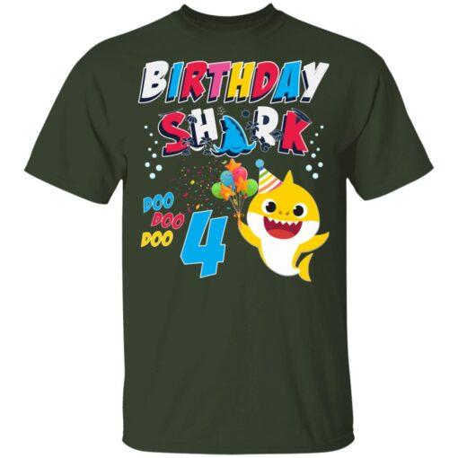 4th Birthday Baby Cute Shark Birthday Boys Girls 4 Years Old T-shirt 2 of Sapelle