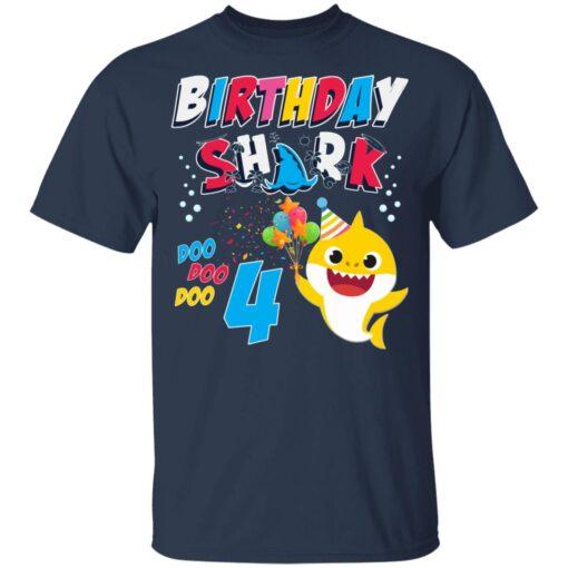4th Birthday Baby Cute Shark Birthday Boys Girls 4 Years Old T-shirt 3 of Sapelle